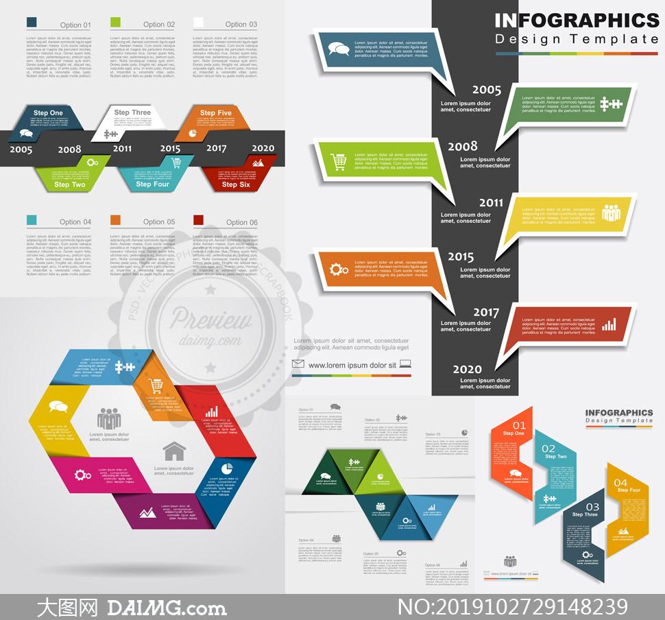 大事记时间线信息图表设计矢量素材