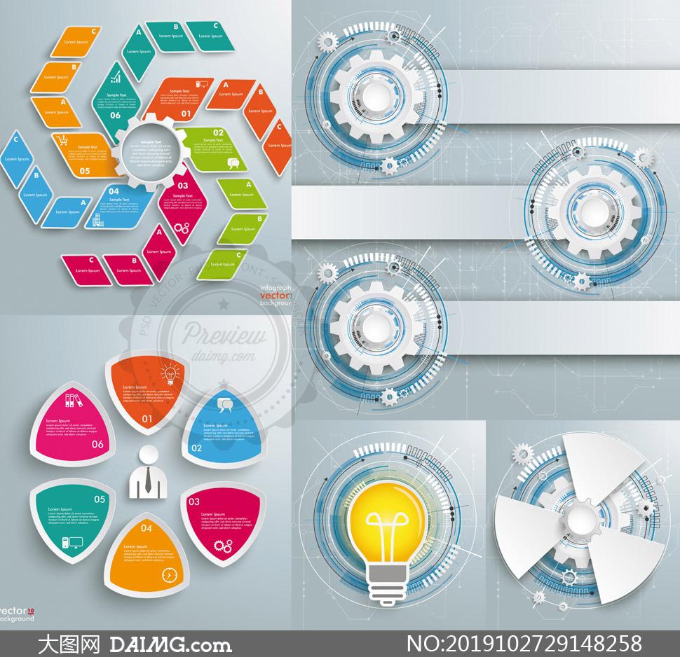 齿轮驱动等元素信息图创意矢量素材