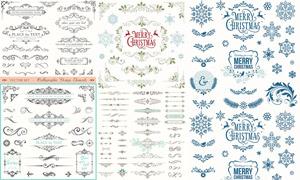 復古風格花紋裝飾邊框元素矢量素材