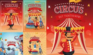 欧美风格马戏团演出海报矢量素材V01