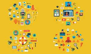 播客视频与网络会议等图标矢量素材