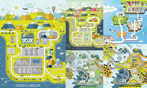扁平化能源环保等创意插画矢量素材
