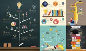 书本与学生等教育主题信息图表素材