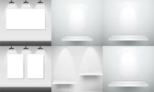 灯光下的置物架等主题设计矢量素材