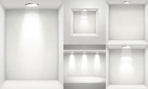 灯光下的画廊内部效果展示矢量素材