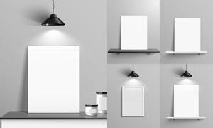 在灯光照射下的空白装饰画矢量素材