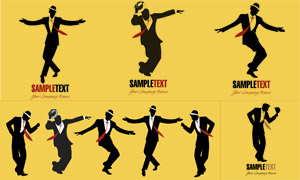 跳舞的男子人物剪影主題矢量素材V02
