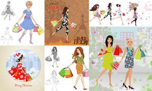 購物美女人物插畫創意設計矢量素材