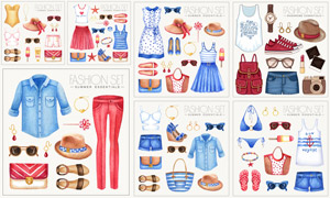水彩效果女性服饰主题创意矢量素材
