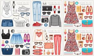 连衣裙等时尚水彩服饰创意矢量素材
