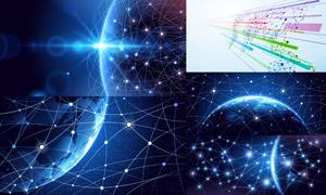 网点分布与网络互联创意矢量素材V02