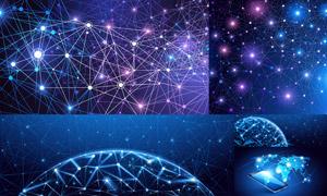 网点分布与网络互联创意矢量素材V03