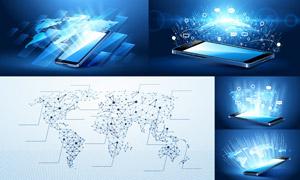 网点分布与网络互联创意矢量素材V04