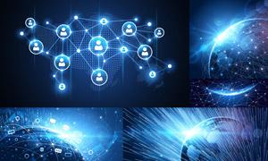 网点分布与网络互联创意矢量素材V05