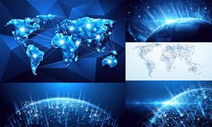 网点分布与网络互联创意矢量素材V06
