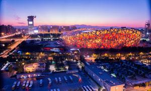 夜幕下的北京鸟巢美景摄影图片