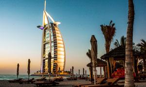 迪拜帆船酒店美丽夜景高清摄影图片