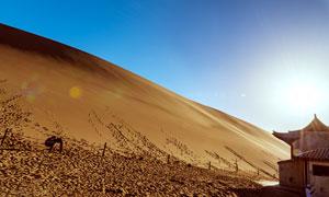 藍天下的月牙泉沙漠景觀攝影圖片