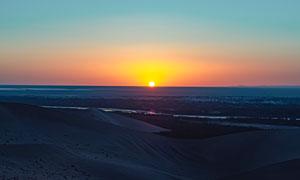 月牙泉風景區夕陽美景高清攝影圖片