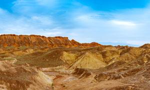 大西北丹霞地貌美丽风光全景摄影图片
