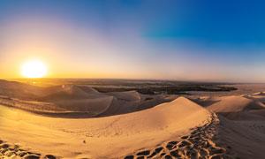 月牙泉沙漠美丽的夕阳景观摄影图片