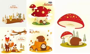 可爱动物卡通创意秋季主题矢量素材
