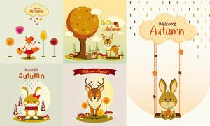 狐狸兔子与小鹿等卡通动物矢量素材