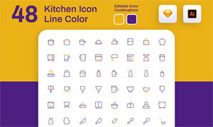 线条化的厨房用品主题图标矢量素材