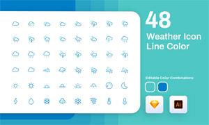 线条化的天气图标创意设计矢量素材