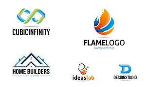 火焰與創意工廠等標志創意矢量素材