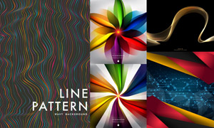炫彩缤纷抽象曲线元素背景矢量素材