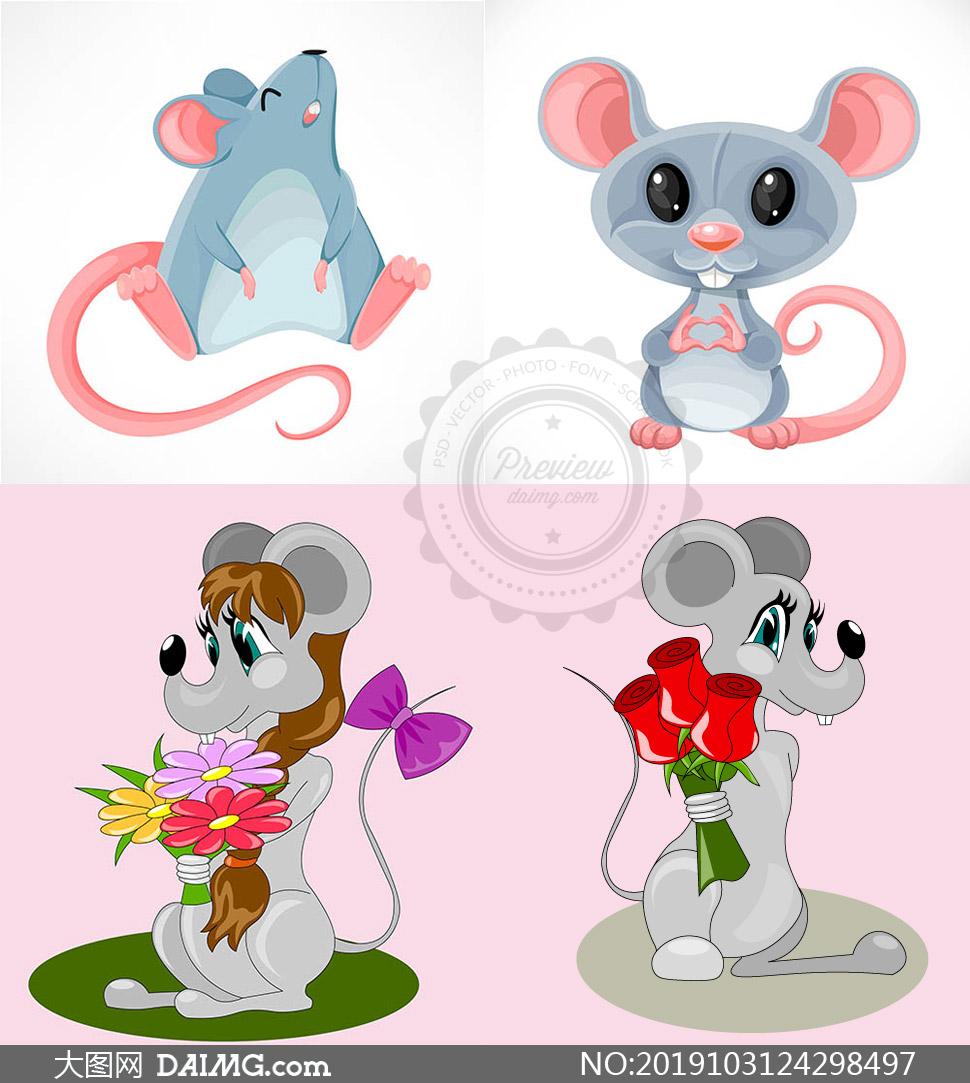 可爱卡通的小老鼠主题矢量素材集V01