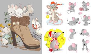 可爱卡通的小老鼠主题矢量素材集V02