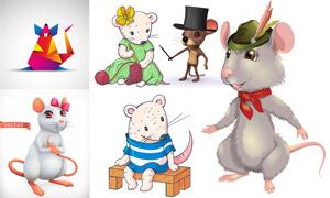 可爱卡通的小老鼠主题矢量素材集V03