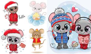 可爱卡通的小老鼠主题矢量素材集V04