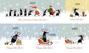 可爱卡通的小老鼠主题矢量素材集V08