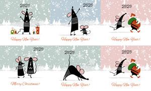 可爱卡通的小老鼠主题矢量素材集V09