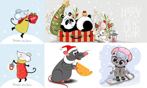 可爱卡通的小老鼠主题矢量素材集V12