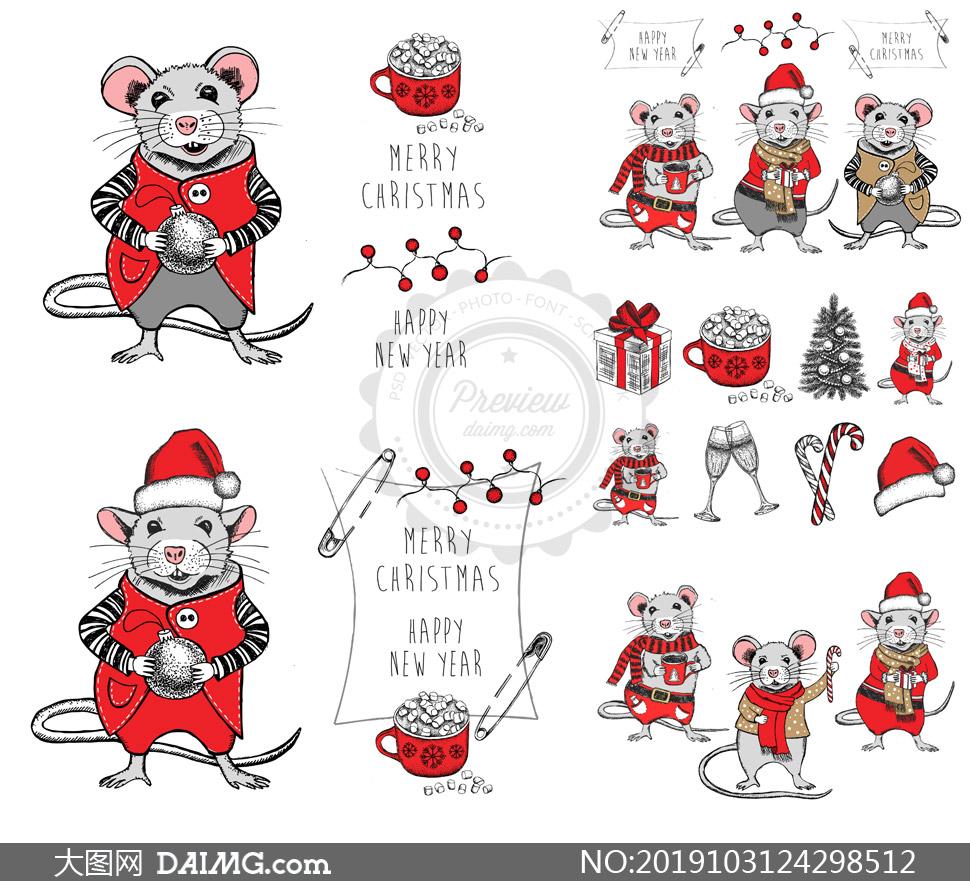 可爱卡通的小老鼠主题矢量素材集V16