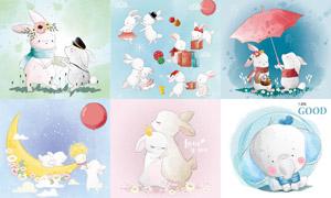 可爱兔子卡通动物创意插画矢量素材