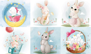 手绘水彩风格可爱兔子插画矢量素材