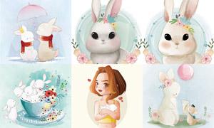 鲜花兔子与小女孩创意插画矢量素材