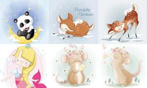 小鹿熊猫与兔子等插画创意矢量素材
