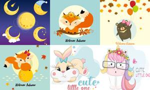 狐狸兔子独角兽等插画创意矢量素材