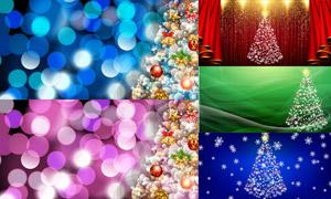 雪花圣诞树与光斑背景创意矢量素材