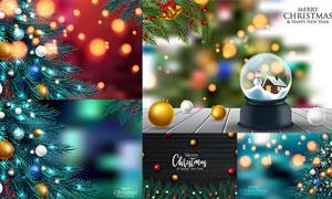 光斑元素点缀圣诞背景创意矢量素材