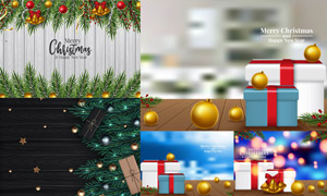 光斑元素与圣诞礼物盒创意矢量素材