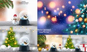 圣诞节雪人与水晶球等创意矢量素材