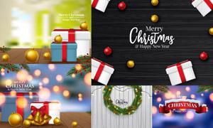 木板纹理与圣诞球礼物盒等矢量素材