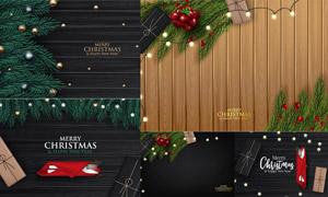 餐具礼盒与圣诞节背景主题矢量素材
